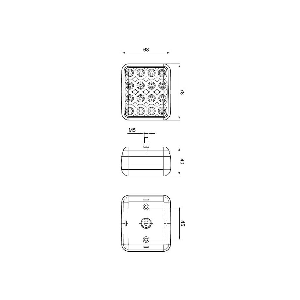 led r ckfahrleuchte quadrat 12v 36v 041. Black Bedroom Furniture Sets. Home Design Ideas