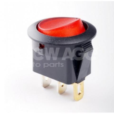 Wyłącznik podświetlany okrągły czerwony 12V20A 163