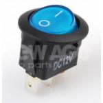 Wyłącznik podświetlany okrągły niebieski 12V20A 164