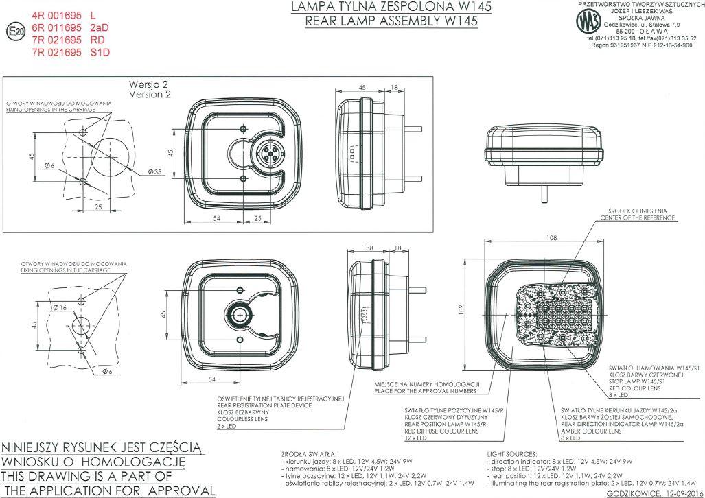 Details About Multifunctional Led Rear Lamp 4 Functions 12v 24v 1088